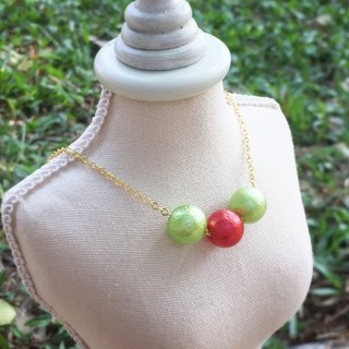 """LaPerle"" imitation pearl red and green cotton necklace 16k gold plated brass necklace Handmade Christmas gifts"