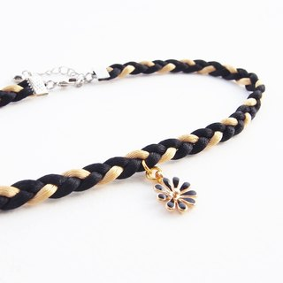 Black / gold soft satin rope choker with black flower