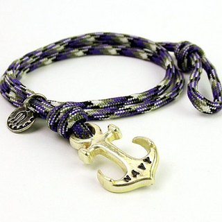 [METALIZE]Anchor with rope bracel Three-circle umbrella rope bracelet - Sea anchor section - Purple Camo (Ancient Silver)