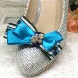 閃爍水晶高跟鞋.孔雀藍色丁蝴蝶結婚宴鞋夾飾品