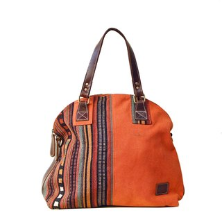 [Happa] Dome canvas shoulder bag - handmade knotted kilim paragraph (Rust rust orange)
