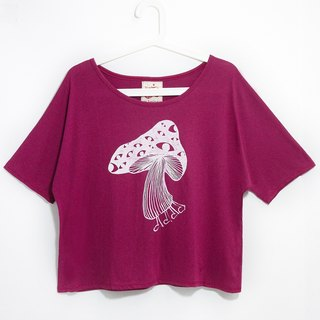 Women feel short Blouse / Travel T - Nepal mushrooms (burgundy)