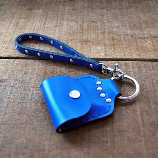 Punk leather keychain case (blue)