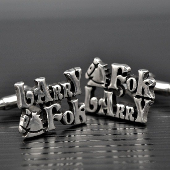 Customized .925 sterling silver jewelry CUF00006- cufflinks (full name version)