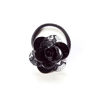 Romantic Lace Style, Camellia, Hair Ties, Hair Accessories - Black