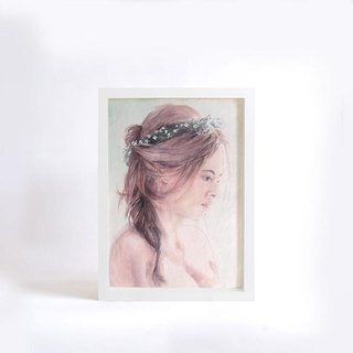 Customized hand-painted color ink portrait - A4 with frame