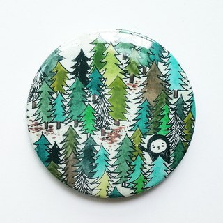 Elvis unappealing color illustration medallion / forest - Forest / 58mm / Green