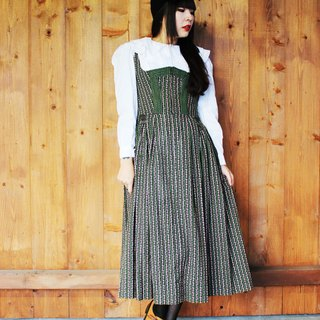 F851 (Vintage) green meadows pink flower arrangement flower cotton cloth vest dress (traditional Austrian Dirndl)