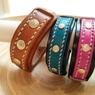 [Handsome] copper collar hand-made leather buckle leather bracelet