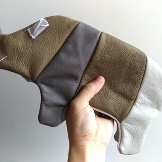 +zoom- Rhinoceros styling pen bag (ticket bag) - cowhide - color matching