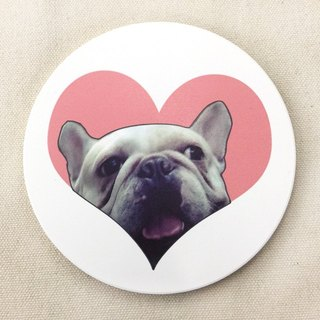 Love in the French bucket ceramic water coaster