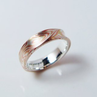 Element 47 Jewelry studio~ mokume gane ring 23 (silver/copper/ 2sheets of Kgold)