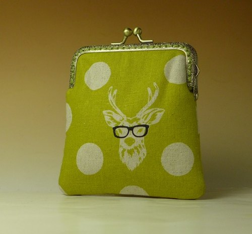 Retro square mouth gold bag / purse * circle with deer *