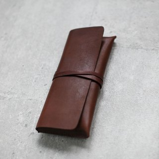 Dark brown Leather Pencil Case/Pen Pouch/ Sunglasses Case