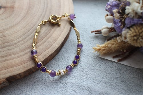 Purple shadow-Amethyst  agate brass handmade bracelet