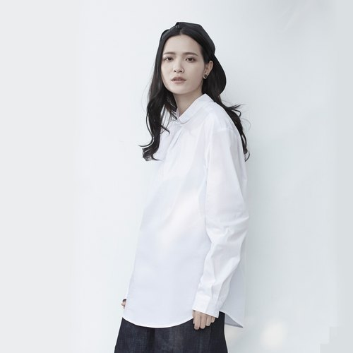 TRAN - Single button open collar shirt