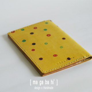 Hand-dyed hand-stitched passport holder - (yellow origin paragraph)