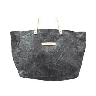 Manta big bag - dark gray washed canvas - leather strap