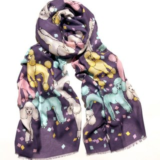 Prize poodle cashmere scarf in grape color