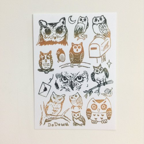 [May] scops owl coloring - Lanyu picture postcards