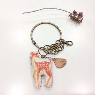 Bambi and the Butterfly [] key ring + custom name small leather