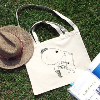 Painter illustration horizontal canvas bag