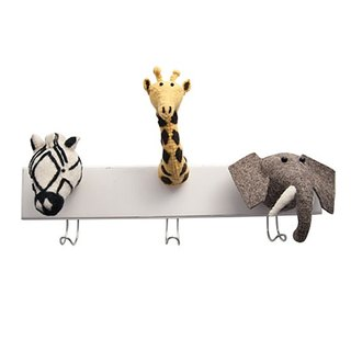 [Fiona Walker England] British style fairy tale animal head handmade Mural - jungle wildlife group Hook (Jungle animal 3 Head Hook, Elepant, zebra, giraffe)