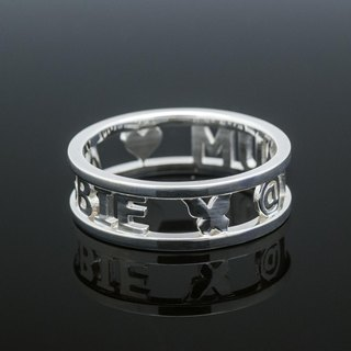 Customized Initial Ring Ring simple flat box Wide