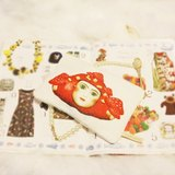 Lily Lily原創 帆布包復古蘑菇娃娃趣味短款零錢包化妝包筆袋