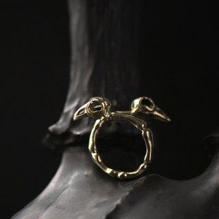 Two Ravens Skull Ring by Defy - Original Brass Handmade Jewelry - Statement Ring