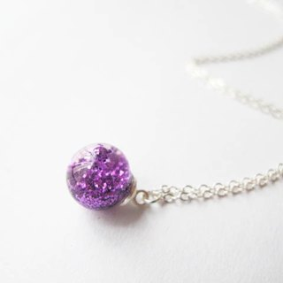 *Rosy Garden*purple glitter with water inside glass ball necklace