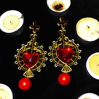 Love Magic Mirror gold ruby ​​earrings