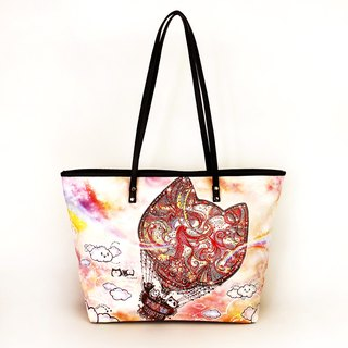 Good kitty meow spill-painted tote bag hot air balloon