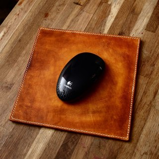 Cans handmade pure handcrafted mouse pad yellow brown hand dyed Italian vegetable tanned leather