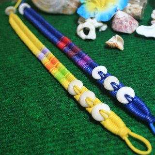 TvT / rainbow color PUKA then braid foot ring
