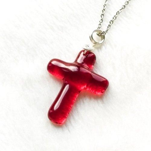 婚禮週邊-彩玻十字項鍊-桃紅