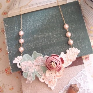 Garohands Autumn Love Song Yan pink bow ball of cotton bud pearl handle long chain A409 gifts Department of Forestry