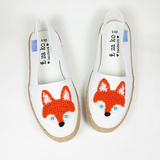 White cotton canvas hand-made shoes Forest Department Fox models have weaving