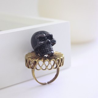 Lord Skull in Black Finished with Golden Collar Ring /Jewelry / Adjustable Ring