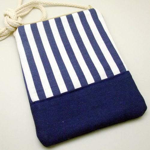 Silverbreeze ~ phone bag / shoulder bag / backpack - blue and white striped twill (D12) (the shelf)
