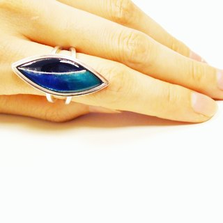Simple silver leaf enamel ring (blue-black)