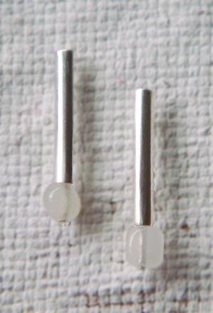 天然寶石(白玉)純銀耳環