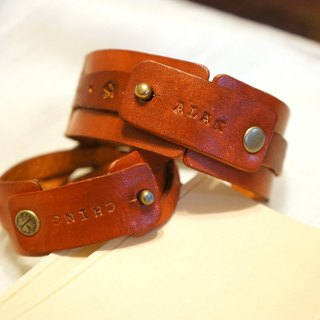 Plain leather lovers bracelet x2