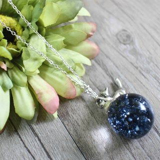 Blue mineral chain glass ball necklace 【Noble cat trimmed with sapphire】