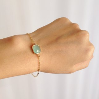 """KeepitPetite"" Elegant · gilt edging square glass imitation gemstone bracelet · • · mint green gift"
