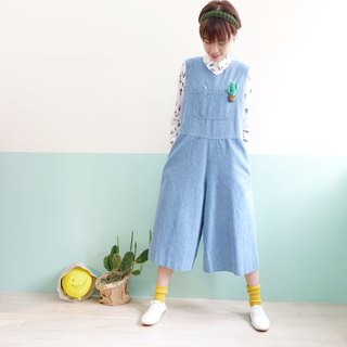 Tee-piece denim pants wide