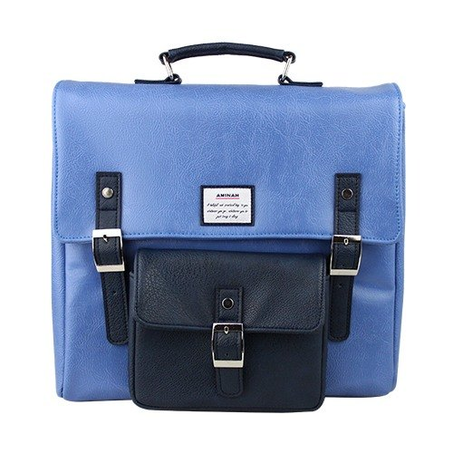 AMINAH-粉藍正點後背包【am-0275】