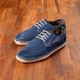 Vanger 優雅美型‧輕尚混搭德比雕花麻底鞋║Va170藍