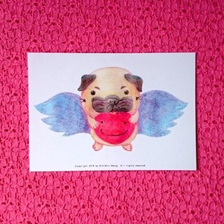 Pug postcard- Love can fly