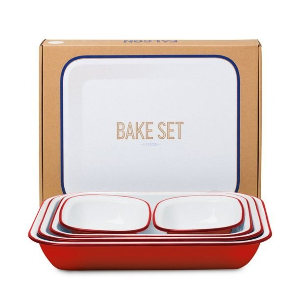 English enamel pan set - Red | FALCON